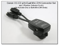 OC1011: Canon OC-E3 with Dual Mini-DIN Connectors and 3 Position Selector Switch to Activate One or Both Mini-DIN Ends