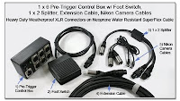 PT1002: 1 x 6 Pre-Trigger Control Box w/ Foot Switch, 1 x 2 Splitter, Extension Cable, and Nikon Camera Cables using Heavy Duty Weatherproof XLR Conectors on Neoprene Water Resistant SuperFlex Cable
