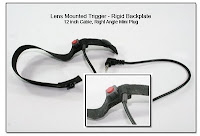 LT1001a: Lens Mounted Trigger - Rigid Backplate (Reinforced) w/ 12 inch Cable, RA Mini Plug