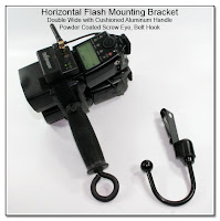 Horizontal Flash Mounting Bracket, Double Wide with Cushioned Aluminum Handle, Powder Coated Screw Eye, Belt Hook