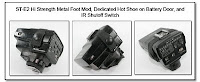 ST-E2 with Hi Strength Metal Foot Mod, Dedicated Hot Shoe on Battery Door, and IR Cutoff Switch