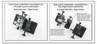 CP1033e: Dual Custom Guide Block - Assembled from Two Single Custom Guide Blocks - Assembled View & Parts View Rigid Version