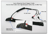 LT1011b: Lens Mounted Dual Trigger Cable - Attached Short Coiled Cord, Rigid Backplate, Safety Clips, RA Mini Plugs