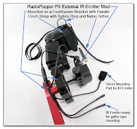 CP1104AE: RadioPopper PX External IR Emitter Mod, Mounted on a FourSquare Bracket with Handle, Including the Cinch Strap with Safety Ring and Nylon Tether
