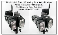 Horizontal Flash Mounting Bracket - Double Wide for Mounting 2 PW FlexTT5 Units with Flash Units in Front to Back Setup