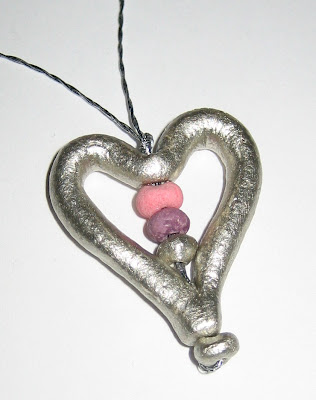 handmade heart and bead necklace made by surf jewels handmade jewellery