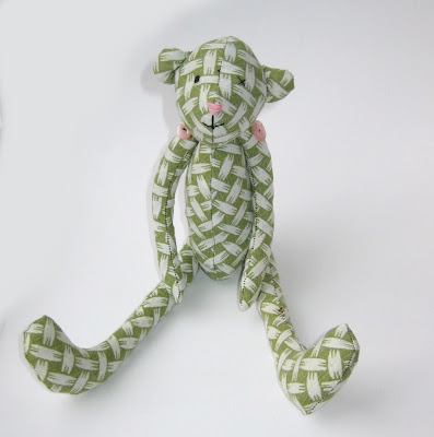 handmade bear by surf jewels handmade jewellery - cute, handmade, green, pink, fabric, sewn, sewing, teddie, buttons