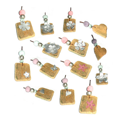 wooden charm pendants, handmade eco jewellery by surfjewels