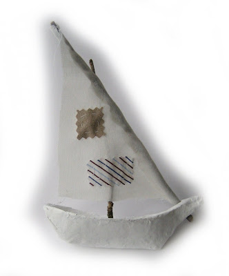 little handmade boat sewn recycled made