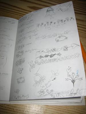 note book - handmade, saw pierced, surf jewels, jewellery, ring, aluminium, flowers, leaves, hearts, design, making, designing