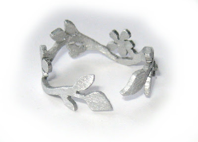 hand cut ring - handmade, ring, flower, heart, leaf, silver, aluminium, saw pierced, surf jewels, jewellery