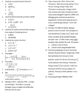 Belajar LAGI: Soal Aritmetika : Bilangan Bulat dan Pecahan (Kelas 7