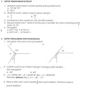 Soal Geometri: Sudut (Kelas 7)