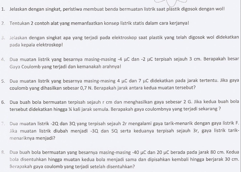 Starbung Kelas 9 Fisika Listrik Statis Dan Dinamis Midtest Prediksi