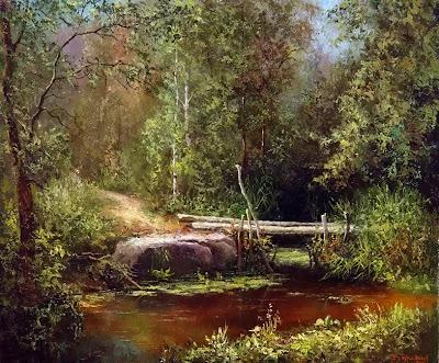 Вышивка речка в лесу