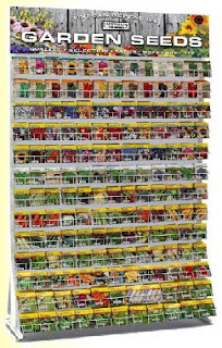 Vegetable seed packet display.
