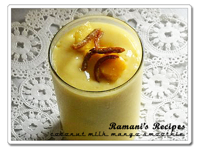 Coconut Milk mango Smoothie - Ramani's Recipes