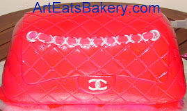 Hot pink Channel handbag fondant birthday cake