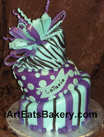 Purple and teal three tier mad hatter birthday cake