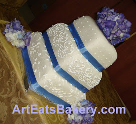 Three tier square fondant wedding cake
