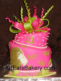 Hot pink mad hatter Alpa Delta Phi birthday cake