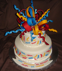 Sugar sculpture bow birthday cake