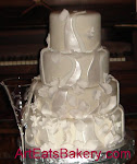 Four tier fondant leaves wedding cake