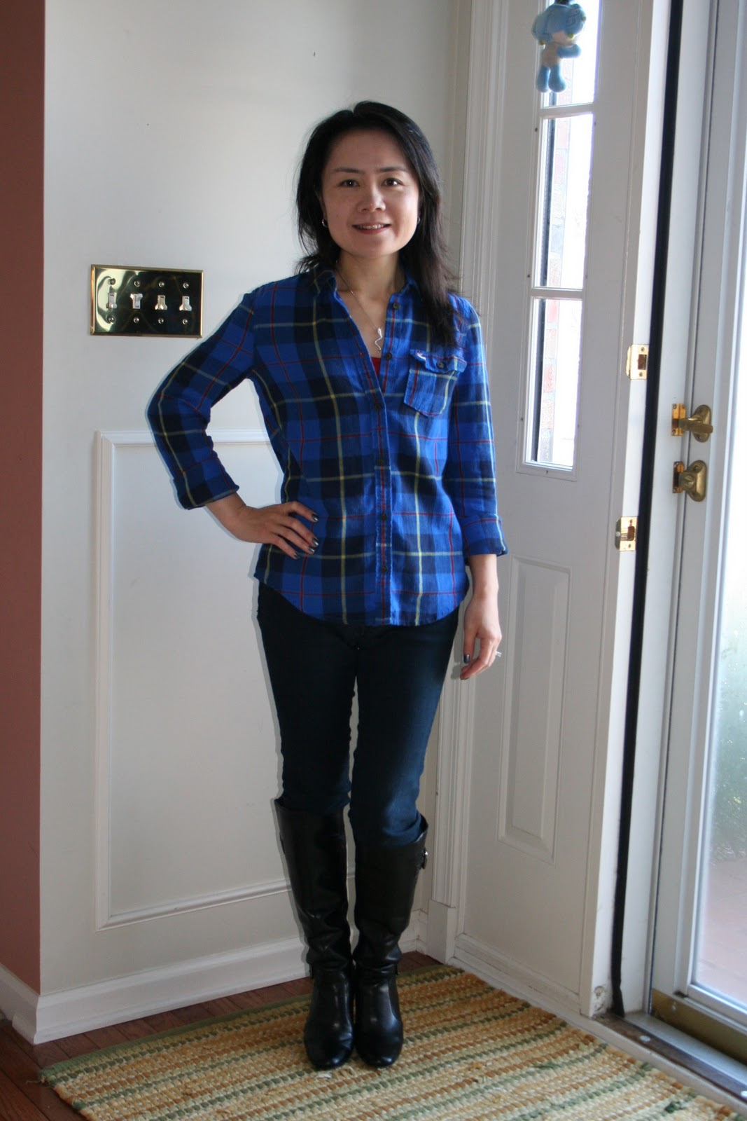 Flannel Sweater Dress with Boots