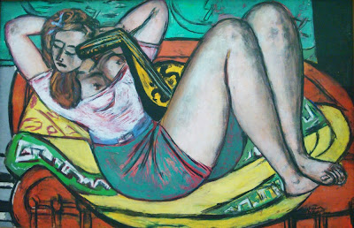 Max Beckmann: Woman with Mandolin in Yellow and Red, 1950
