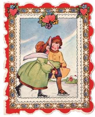 This is a sweet little vintage valentine This one shows a cute pair of