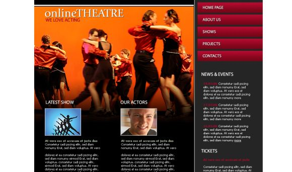 Free HTML Orange Online Theatre Web2.0 Template