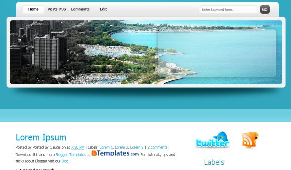 Holidays Travel Blue White Free Blogger Template