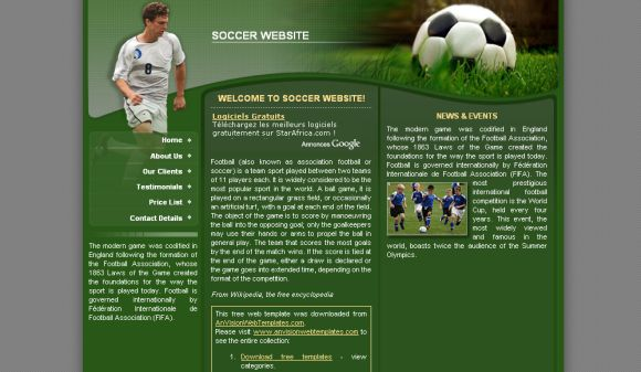 Free CSS Soccer Green Website Template