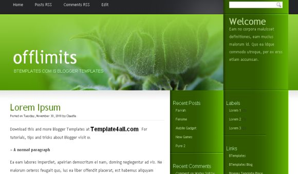 Free Dark Green Abstract Blogger Template