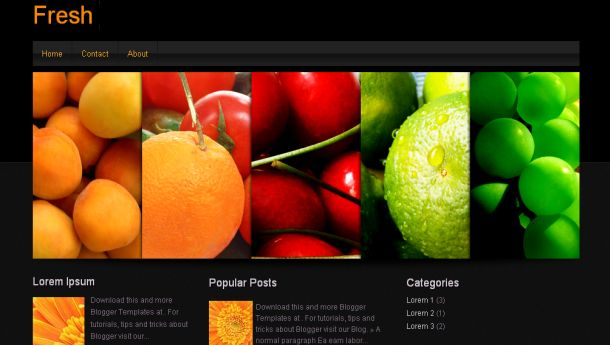 Free Cooking Nature Black Blogger Template