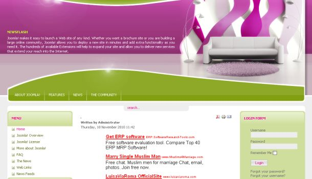 Interior Design Pink Green Joomla Theme