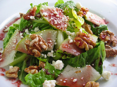 Pear, Walnut and Feta Salad with Pomegranate Dressing