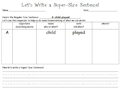 http://swampfrogfirstgraders.blogspot.com/2010/12/super-sized-sentence-writing.html