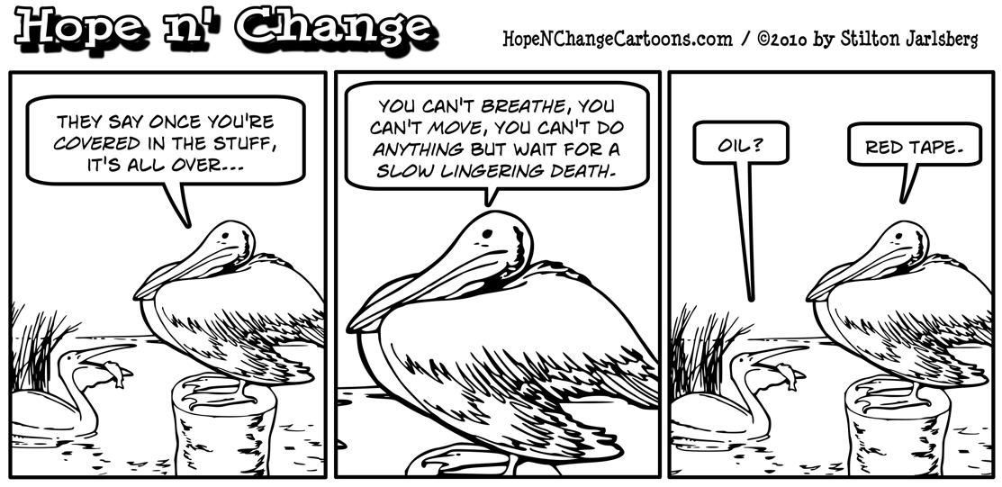 In Louisiana, a pelican complains that death is a certainty once you're covered in governmental red tape