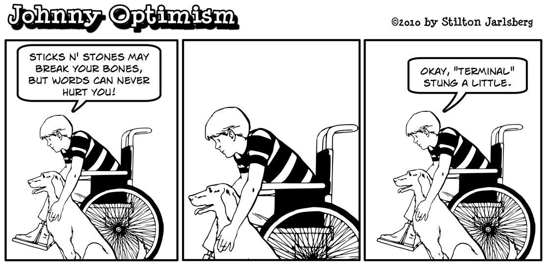 Johnny Optimism, JohnnyOptimism, sticks, stones, wheelchair