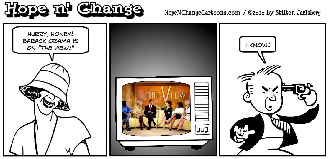 A man decides that he'd rather blow his brains out than watch Barack Hussein Obama chatting with the all-female panel on the View; hope and change, hopenchange