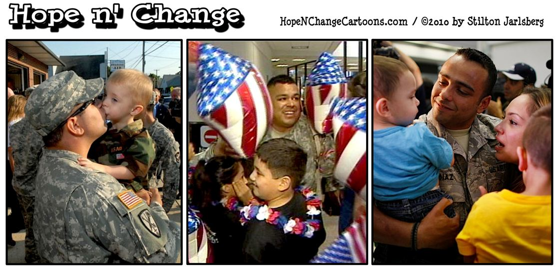 Last US combat troops return from Iraq and are greeted by their families; hope and change, hopenchange