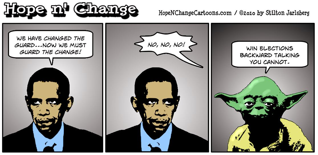 Yoda tells Barack Obama that his Change the Guard - Guard the Change slogan stupid sounds; hope and change, hopenchange, stilton jarlsberg