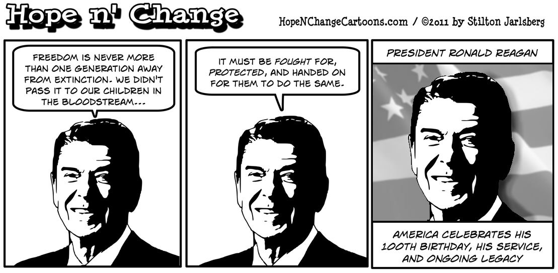 America celebrates Ronald Reagan's 100th birthday, hope n' change, hopenchange, hope and change, stilton jarlsberg