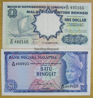 Old malaya 1 dollar kapal layar and malaysia 1 ringgit