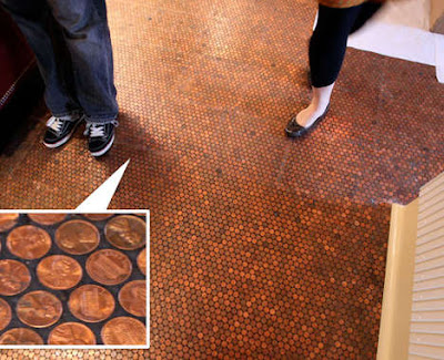 Beautiful coin creations lunaticg coin for Cheap kitchen floor covering