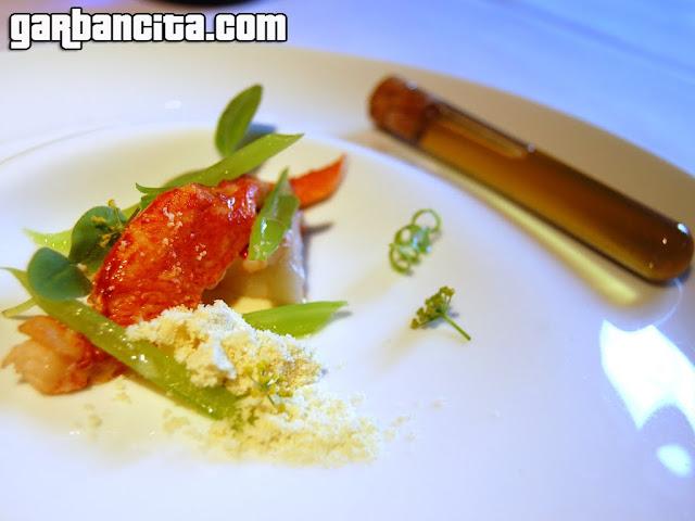 Bogavante azul, tallos, hojas y sopa yodada de borraja; acompañado de unas flores de achicoria, sobre emulsión de Arbequinas perfumada de cítricos