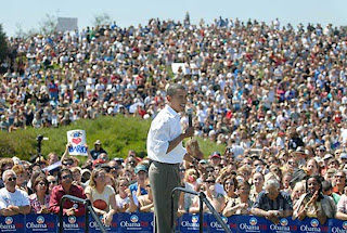 Barack Obama at a rally in Santa Barbara, California last September