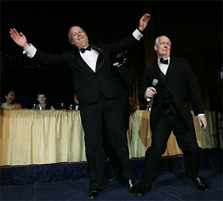 Karl Rove, traitor, doing his imitation of Hip-hop. Out of sight to the left is NBC White House correspondent David Gregory, dancing like a typical 'white' guy, which he is.