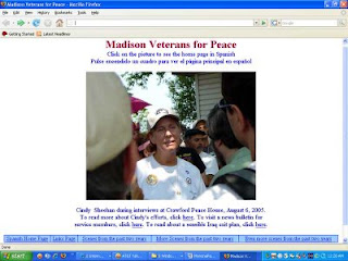 The last home page I designed for the Madison chapter of Veterans for Peace, 2005